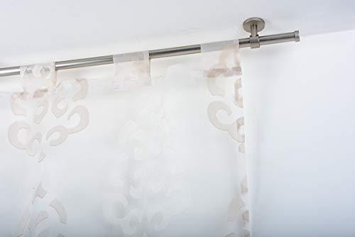 InCasa Gardinenstange Ø 20 mm ohne Ringe, Länge: 140 cm, gebürsteter Edelstahl - komplett