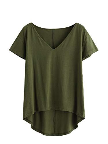 DIDK Damen V-Ausschnitt T-Shirt Kurzarmshirt Einfarbig Tops Casual Oberteile Asymmetrisch Locker Sommer Shirts Tunika Top Reines T-Shirts Armeegrün L