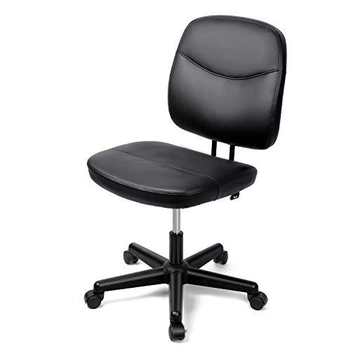 Besit Bürostuhl, höhenverstellbarer Bürosessel, vergrößertes Sitzkissen, gut gepolsterte Rückenlehne, PU Schreibtischstuhl, Belastbar bis 125 kg