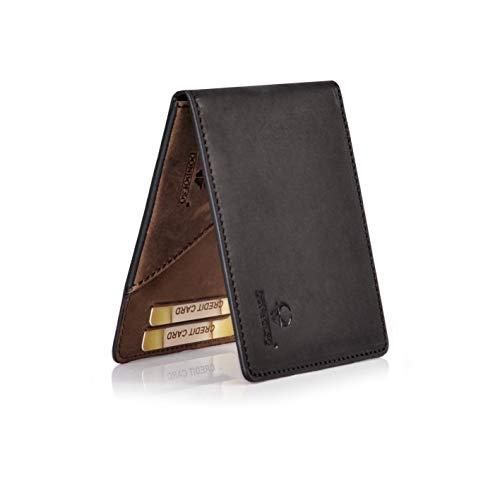 DONBOLSO® Geldbörse Madrid mit Münzfach Leder Herren Mini Geldbeutel Flach RFID Portemonnaie Geldklammer Slim Wallet Brieftasche Männer Schwarz Braun