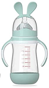 HuBorns. Biberón anticólicos - Biberones anticólicos para recién nacidos 240ml - Biberones para bebés con tetina de agarre natural - Biberón de cristal en color azul