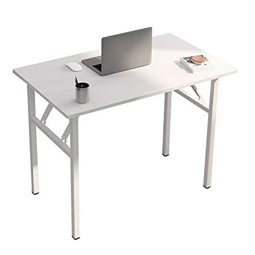 sogesfurniture Schreibtisch Klapptisch, 100x60cm Computertisch Bürotisch Konferenztisch Arbeitstisch PC Tisch Klappbar für Zuhause, Büro, Picknick, Garten, Weiß BHEU-LP-AC5WW-100