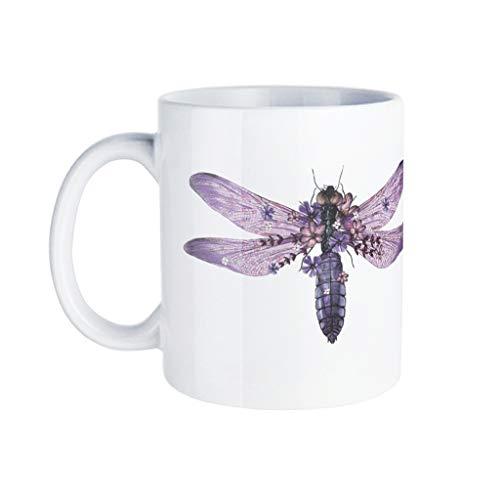 KittyliNO5 Taza de café de porcelana con diseño de libélula, idea de regalo para hija, hijo, blanco, talla única