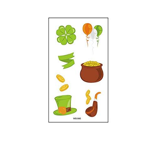 Moent Calcomanías verdes del día irlandés, trébol de cuatro hojas de trébol de trébol de cuatro hojas, gorro de la suerte, decoración de fiestas festivales, regalos para niños (C)
