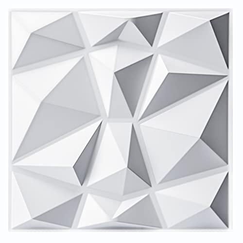 Art3d Dekorative 3D-Wandpaneele im Diamant-Design, 30,5 x 30,5 cm, Mattweiß, 33 Stück