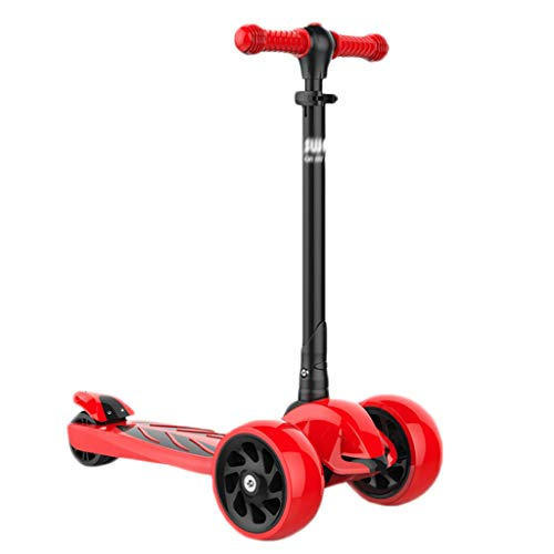 Kick Scooter, Lean 'N Glide Scooter With Extra Wide PU Light-Up Wheels And Adjustable Heights for Children From 3-12yrs (Color : Red)
