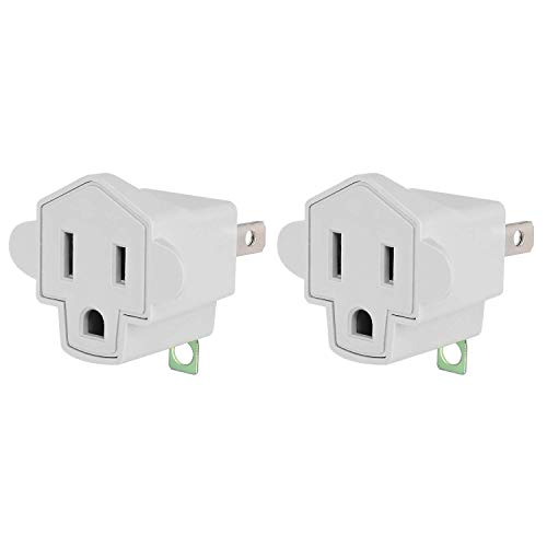 ETL 3 Prong to 2 Prong Adapter Polarized Grounding Converter JACKYLED 3-Prong Adapter Converter Fireproof Material 200℃ Resistant Heavy Duty for Wall Outlets, Electrical, Household, 2 Pack