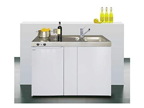 Stengel Miniküche Easyline ME 120 kleine Küchenzeile mit Kühlschrank und Kochfeld, Pantryküche, Kompaktküche - Farbe: weiß/Breite: 120cm