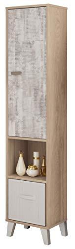 Miroytengo Columna baño Anle diseño Original Color Roble y Collage 1 Puerta Hueco 1 Cesta bambú 34x31x170 cm