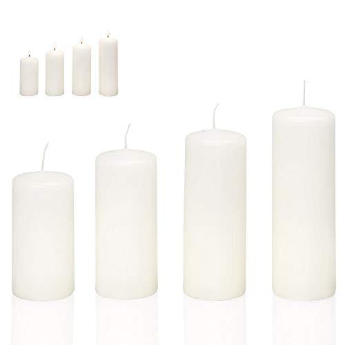 Smart Planet® Kerzen Ambiente Weihnachten - 4er Set Adventskranz Kerze weiß Stumpenkerzen in 4 Größen Weihnachtskerzen für den Weihnachtskranz