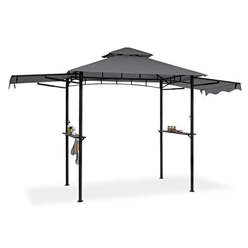 blumfeldt Steakhouse Wings - Gazebo per Barbecue, Dimensioni: 235 x 242 x 145 cm (LxAxP), Parasole/Parapioggia: Poliestere 160g Idrorepellente/Antifiamma, 2 Tettoie Laterali Apribili, Grigio Scuro