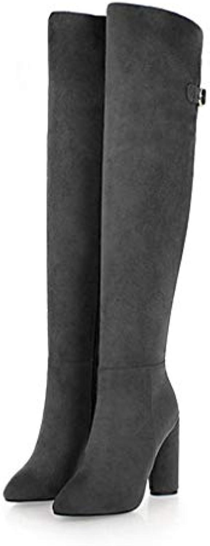 Winter Women Pointed Toe Zip Flock Footwear Female Plus Size High Heelsr Over The Knee Boots