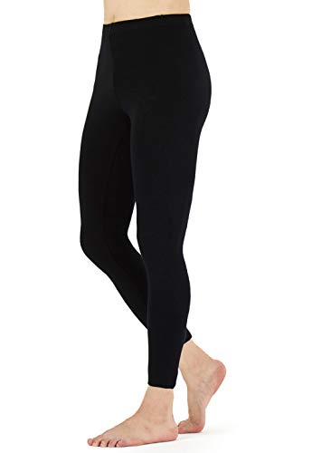 FALARY Leggings Damen Lang Knöchellang Blickdichte Leggins Yoga Tights Viele Größen Schwarz L