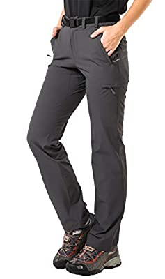 MIER Women's Quick Dry Cargo Pants Lightweight Tactical Hiking Pants with 6 Pockets, Stretchy and Water-Resistant, Graphite Grey, 8