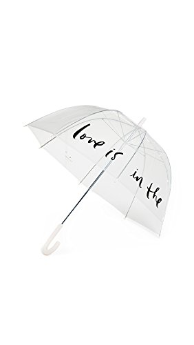 Kate Spade New York Large Dome Umbrella, Love Is In The Air (Pink/Clear)