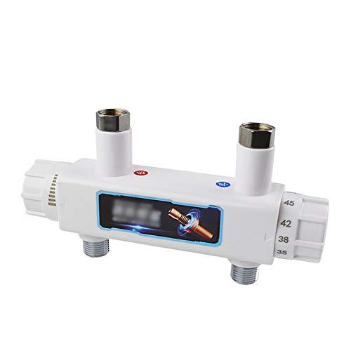 JenLn Grifo mezclador termostático, cromado, antiquemaduras, para manguera de ducha de 1,27 cm, válvula ABS, mezclador de control de temperatura (color: blanco, tamaño: DN15)