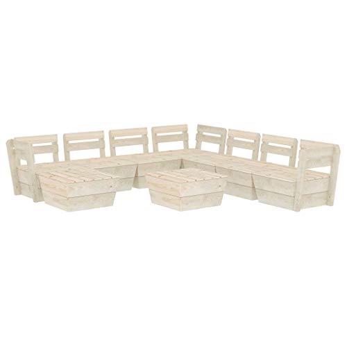 vidaXL Madera de Abeto Impregnada Muebles de Palets para Jardín 9 Piezas Mobiliario Exterior Hogar Terraza Sofá Mesa Asiento Suave con Respaldo