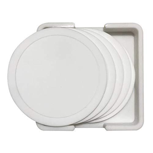 7 unids Tabla antideslizante Mesa de montura Set Resistente al calor Mat de silicona Bebida Posavasos de vidrio Accesorios de cocina Taza de café Placemat (Color : White)