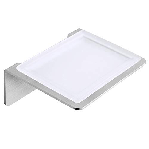 WEISSENSTEIN Seifenschale ohne Bohren aus Glas - Seifenablage mit Selbstklebender Halterung aus Edelstahl zur Wandmontage