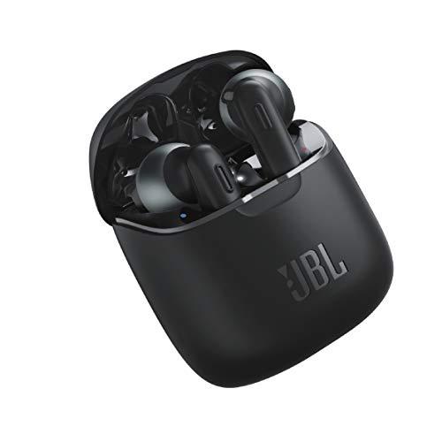 JBL Tune 220TWS – Écouteurs Pure Bass Sans Fil – Appels Stéréo Mains Libres Grâce au Bluetooth – Autonomie Pendant 20 hrs avec l'Étui de Recharge – Bluetooth, Noir