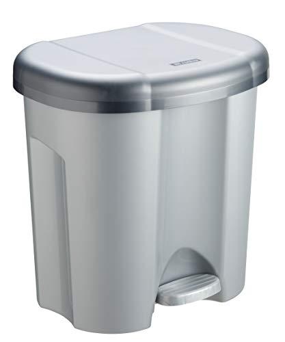 Rotho Abfalleimer Duo, Mülleimer mit zwei Abfallbehältern zum Mülltrennen, 2 x 10 l, Mülltrenner mit Trittfunktion, geruchsdichtes Verschließen, 39 x 32 x 40.5 cm (LxBxH), grau metallic / dunkelsilber