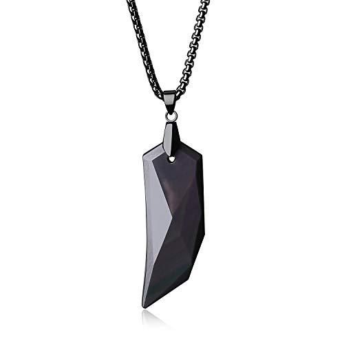 coai Geschenkideen Halskette mit Spitzer Anhänger aus Obsidian Edelstahl Kette 60cm