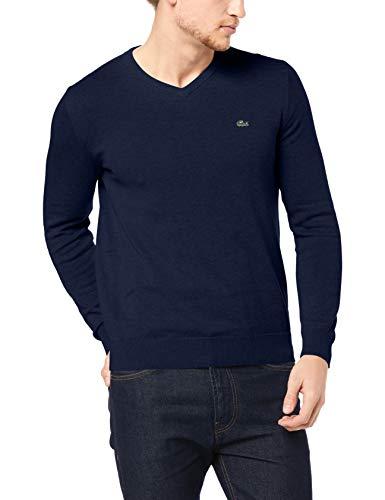 Lacoste Men's V NECK COTTON SWEATER, Navy Blue/flour/navy Blue, 03F
