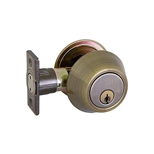 Design House 727453 Double Cylinder Deadbolt, Antique Brass