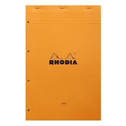 Rhodia 119660C legal pad Notizblock (geheftet, DIN A4+, 21 x 31,8 cm, liniert mit Rand, 80 Blatt, gelbes Papier, 80g) 1 Stück, orange
