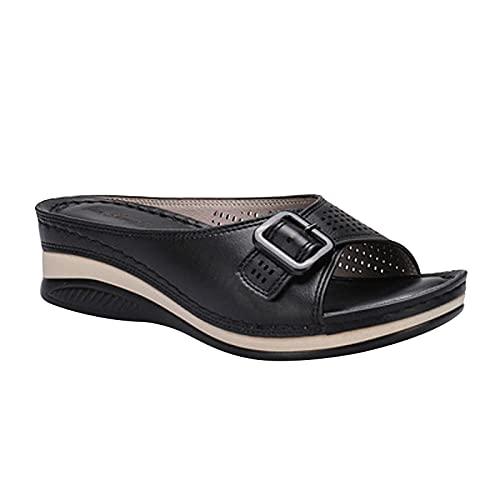 Sandalias y zapatillas con trabillas huecas en la espalda para mujer, sandalias de tacón, sandalias desnudas, sandalias cómodas, sandalias abiertas gruesas para interior y exterior, Negro , 40 EU