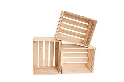 Caja de madera natural para vino – Caja de madera vintage – Almacenamiento de frutas – Caja de almacenamiento de madera – Caja de madera grande 50x40x30 – Caja de vino – Caja de madera(3)
