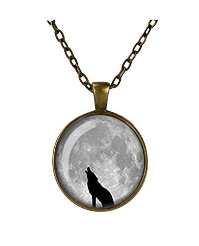 Howling Wolf Necklace, Full Moon Necklace, Wolf Silhouette, Glass Cameo Pendant, Handmade Jewellery, Werewolf, Gothic Gift (Copper)