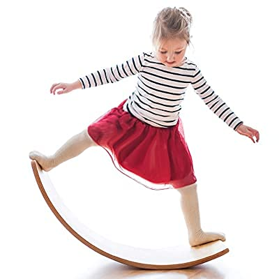 Wooden Wobble Balance Board, Gentle Monster 35 Inch Rocker Board Natural Wood, Kids Toddler Open Ended Learning Toy , Yoga Curvy Board for Classroom & Office Adult