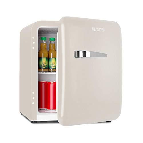 KLARSTEIN Audrey - Mini Frigorifero Retro, Minifrigo, Frigorifero Bevande, Classe Efficienza Energetica A+, Capacità 48 L, 2 Livelli, Temperatura di Raffreddamento: 0-10 °C, VintAge Concept, Crema
