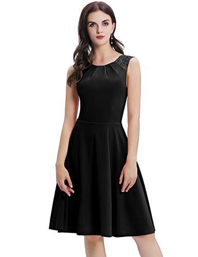 Bbonlinedress Kleid Damen Cocktailkleid Kleider Spitzenkleid im Sommer Rockabilly 50er Vintage Knielang Ärmellos Abendkleider Black L