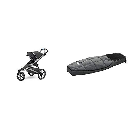 Thule Urban Glide 2 Jogging-Kinderwagen, Unisex, alle Gelände Kinderwagen, 10101924, Dark Shadow/Silber Rahmen, Einzelbett & Footmuff Sport Kinder Fußsack, schwarz, für Kinderwagen und Jogger