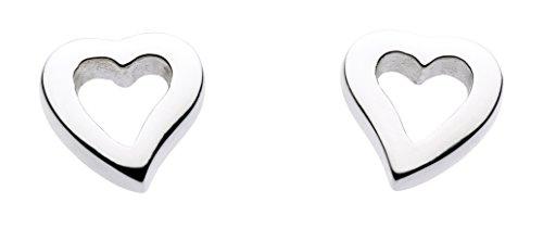Dew Women's Sterling Silver Simple Open Heart Stud Earrings