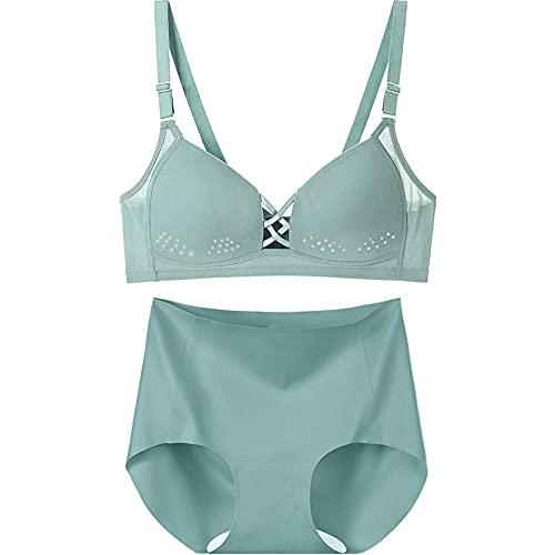 Push-up-BH und Panty-Sets für Damen, Balconette-BHs, Kordelzug nahtlos, drahtlos, Basic Bralette (Farbe: Grün, Größe: 90B)