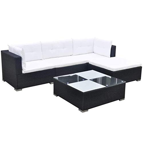 vidaXL Garden Lounge Set 14 Pieces Poly Rattan Black Outdoor Patio Sofa...