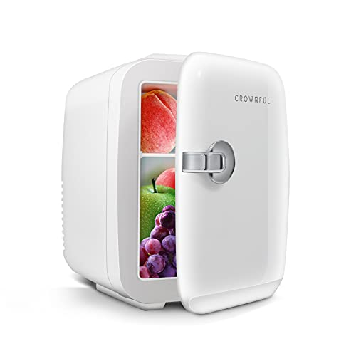 CROWNFUL Mini Fridge, 4 Liter/6 Can Portable Cooler and Warmer Personal Refrigerator for Skin Care, Cosmetics, Beverage, Food,Great for Bedroom, Office, Car, Dorm, ETL Listed (White)