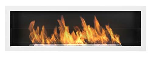 Biocamino Nice-House S-Line 3D 120 x 40 cm con pannello in vetro, 1200 x 400 mm, bio-etanolo camino da parete bianco lucido