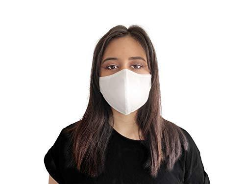 Waschbare Premium Mundschutz Maske aus 70% Baumwolle in weiß (1x) I Oeko-Tex 100 und CE Zertifiziert I Geruchsneutral I Antibakterielle Wirkung I Wasserabweisend I Umweltfreundlich I Unisex Größe