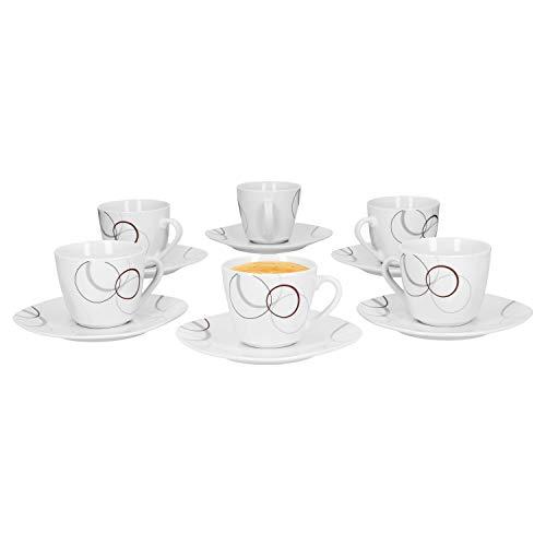 Van Well 6er Set Kaffeetasse 20cl und Kaffeeuntertasse 14,5cm Palazzo - aus weißem Porzellan mit Dekor-Kreisen in grau und dunkelrot