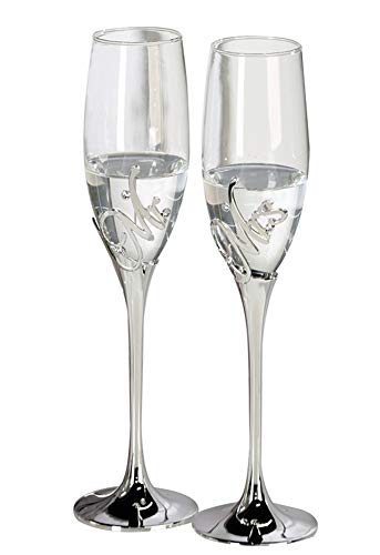 Casablanca - Champagnerglas - MR+MRS- Metall - Farbe: Silber - 2 er Set - Höhe : 27cm