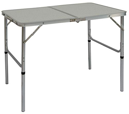 AMANKA Alu Campingtisch 90x60cm - Klapptisch Picknicktisch Leichter Falttisch höhenverstallbar Grau