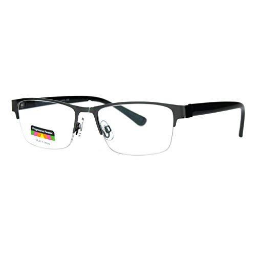 Multi Focus Progressive Reading Glasses 3 Powers in 1 Rectangle Gunmetal +2