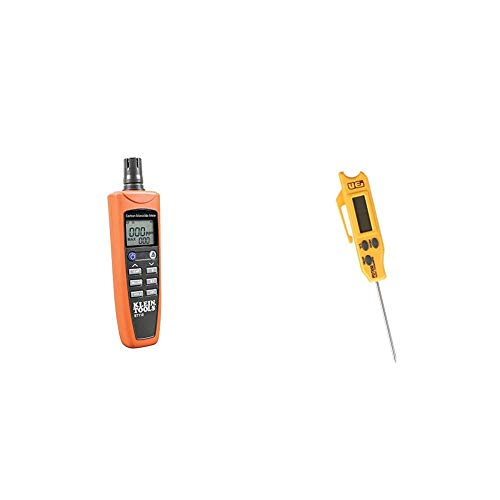 Klein Tools ET110 Carbon Monoxide Meter, Equipped with Exposure Limit Alarm, 4 x AAA Batteries and Carry Pouch Included & UEi Test Instruments PDT650 Folding Pocket Digital Thermometer,Yellow