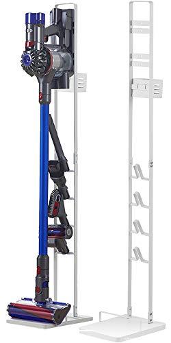 KINDOYO Staubsaugerhalter Halterung Ständer Geeignet für Dyson V6 V7 V8 V10 V11 Staubsauger Freistehender Bodenständer - Weiß/Schwarz Bodenständerhalter Zubehörhalter - Kein Bohren der Wand, Weiß