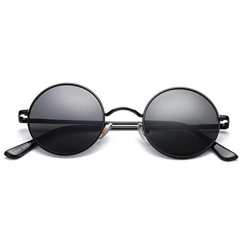 KISS Gafas de sol Hippie mod. TEASHADES - Ligero Metal VINTAGE hombre mujer CULT John Lennon - NEGRO/Negro