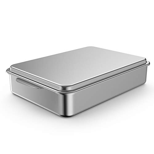 Mr. Right Stainless Steel 9 13 Inches Cake Pan with Lid,Classic Rectangle Covered Bakeware, Silver Baking Pan
